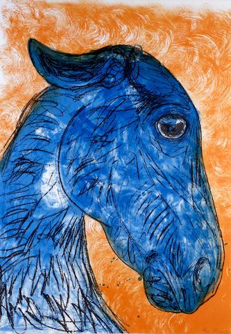 Dame Elisabeth Frink R.A. (British, 1930-1993) 'Blue Horse Head'