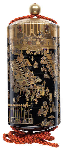 A rare black lacquer five-case inro Late 18th/early 19th century