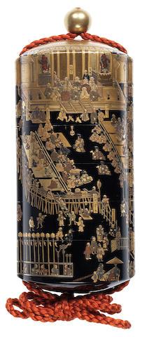 A rare black lacquer five-case inro Late 18th/early 19th century