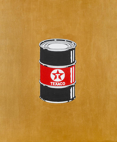 Beejoir (b.1979) Texaco signed, dated 2010 and inscribed Original Oil Can Unique on the reverse acrylic on canvas 60 by 50 cm. 23 5/8 by 19 11/16 in.