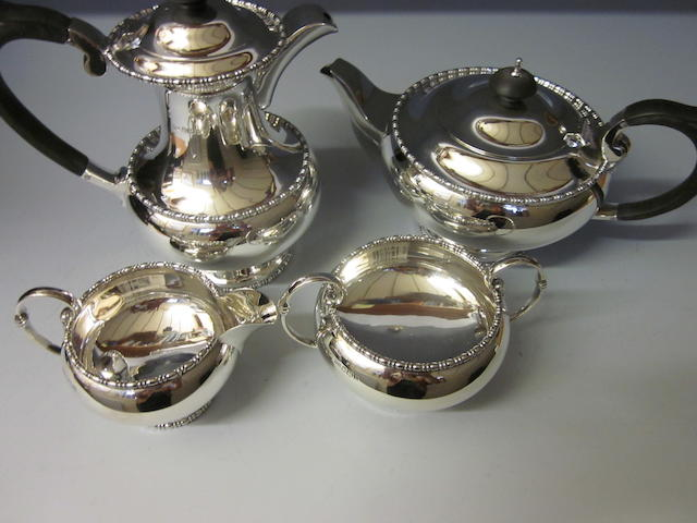 A four piece  tea service  by Walker and Hall,  Sheffield 1955,   (4)