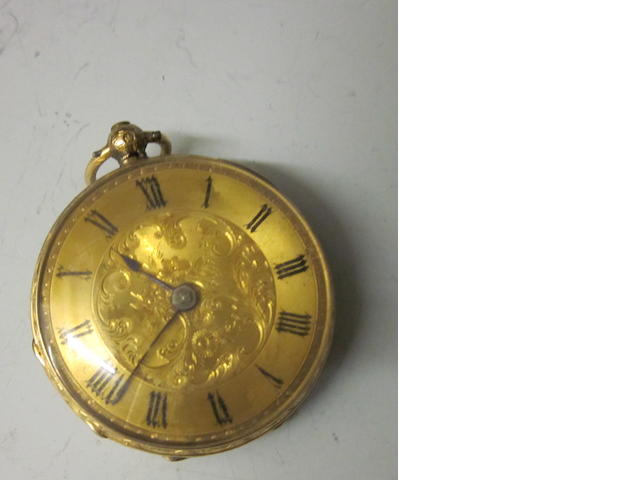 An 18 carat gold open faced key wound pocket watch