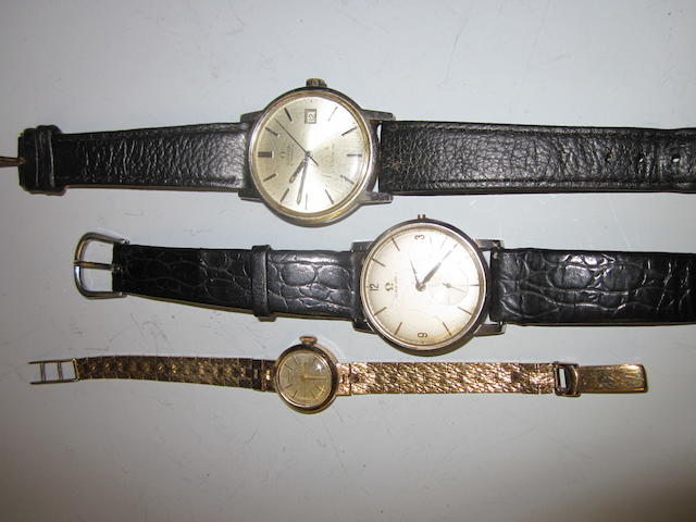 Omega: A gents stainless steel strap watch,  (3)