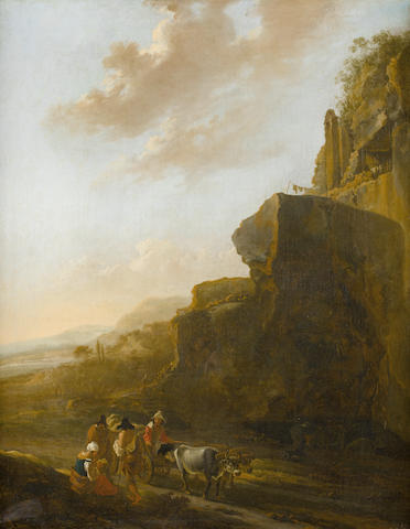 Attributed to Jan Asselijn (Dieppe circa 1610-1652 Amsterdam) A rocky landscape with four figures conversing in the foreground