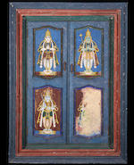 A large hanging temple cabinet, the interior depicting a deity [Vishnu?] within an alcove, Tanjore, South India, mid-19th Century
