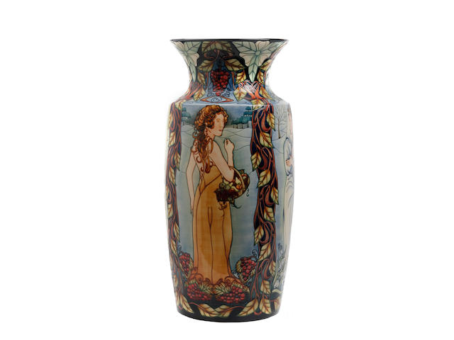 A large and impressive Moorcroft 'Belles Femmes' pattern limited edition vase, designed by Sian Leeper Dated 2001