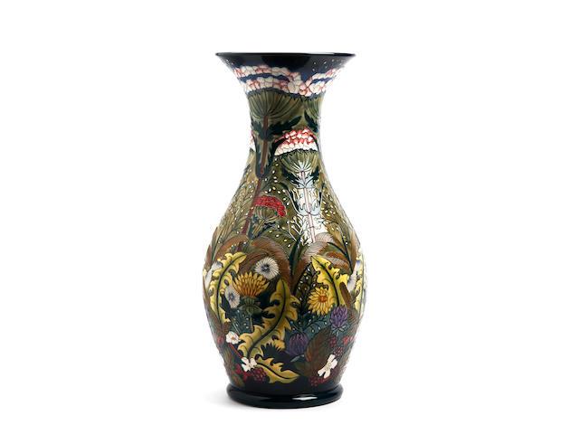 A large and impressive Moorcroft 'Ryden Lane' pattern limited edition vase, designed by Rachel Bishop Dated 2002