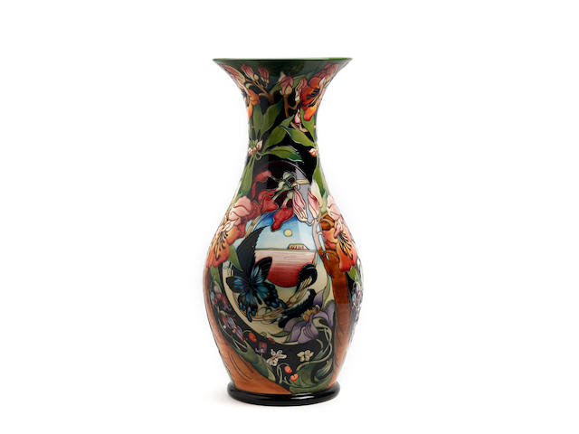 A large and impressive Moorcroft 'Hidden Dreams' pattern limited edition vase, designed by Emma Bossoms Dated 2005