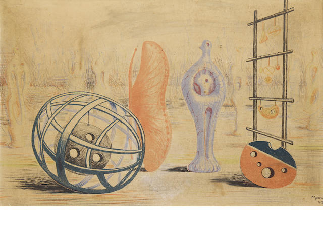 Henry Moore O.M., C.H. (British, 1898-1986) Sculptural Objects (Cramer 7)  Lthograph printed in colours, 1949, on cartridge paper, from the edition of 3000 (there were also a few artist's proofs), published by School Prints, London, 495 x 760mm (19 1/2 x 30in)(SH)