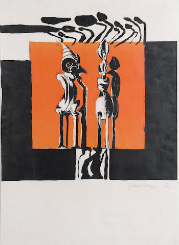 Graham Sutherland O.M. (British, 1903-1980) Standing Forms (not in Tassi) Lithograph printed in colours, on wove, signed and numbered 9/20 in pencil, with margins, 400 x 406mm (15 3/4 x 16in)(I)