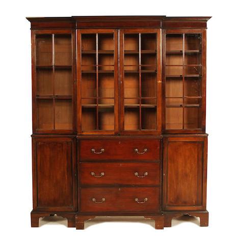 A late Victorian mahogany breakfront secretaire bookcase