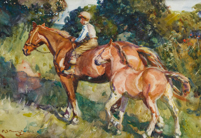Sir Alfred James Munnings P.R.A., R.W.S. (British, 1878-1959) Mare and Foal 25.5 x 35.5 cm. (10 x 14 in.)