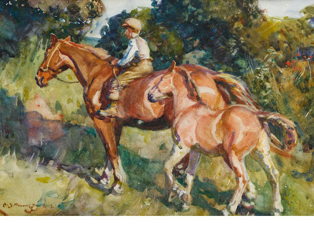 Sir Alfred James Munnings P.R.A., R.W.S. (British, 1878-1959) Mare and Foal