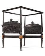 A massive Anglo-Indian 19th century carved ebony tester bed originally made fore the for the Maharajah of Mysome
