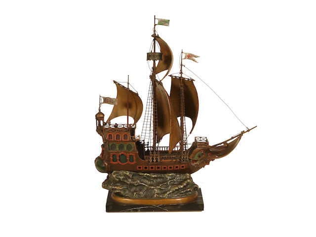 Franz Bergman, Austrian (1861-1936) A large cold painted bronze lamp base modelled as galleon