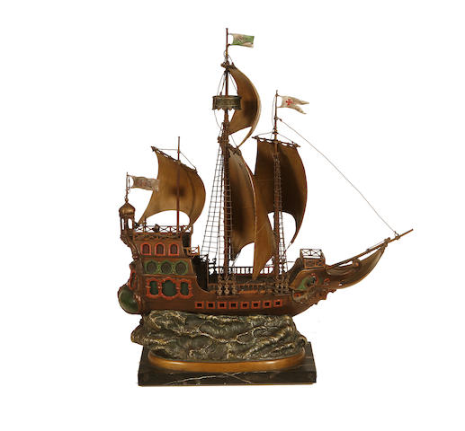 Franz Bergman, Austrian (1861-1936) A large cold painted bronze lamp base modelled as a galleon