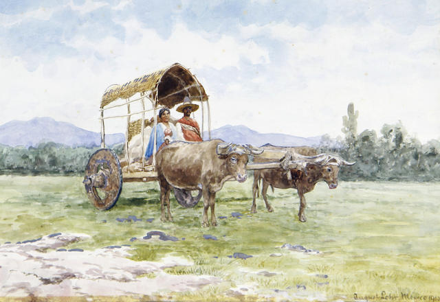 August Löhr (German, 1843-1919) A family in an ox-drawn cart, Mexico