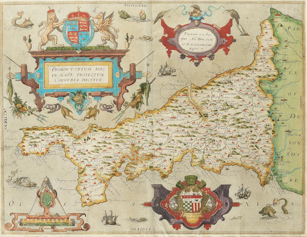 SAXTON (CHRISTOPHER) Promontorium hoc in mare proiectum Cornubia dicitur, engraved map with fine contemporary hand-colouring, [1579]