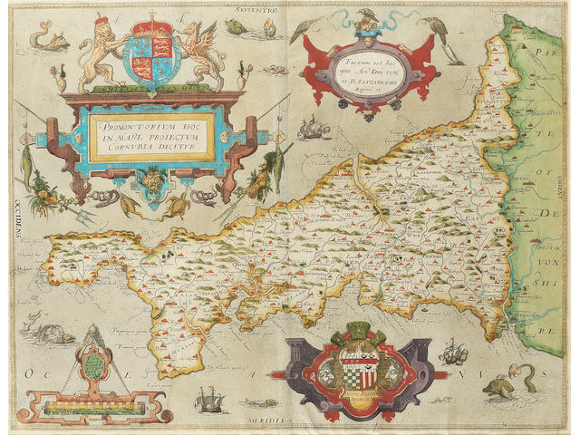 SAXTON (CHRISTOPHER) Promontorium hoc in mare proiectum Cornubia dicitur, engraved map with fine contemporary hand-colouring, [1579]