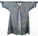 A Chinese late 19th century embroidered gauze dragon robe