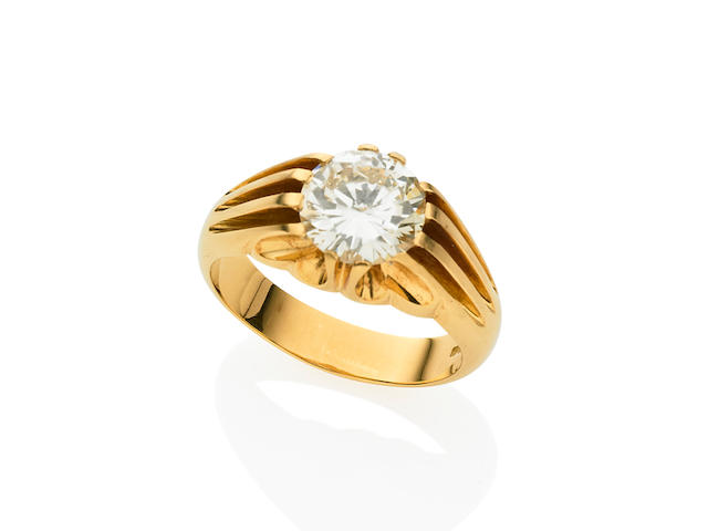 A Gentleman's 3.39 carat solitaire diamond signet ring