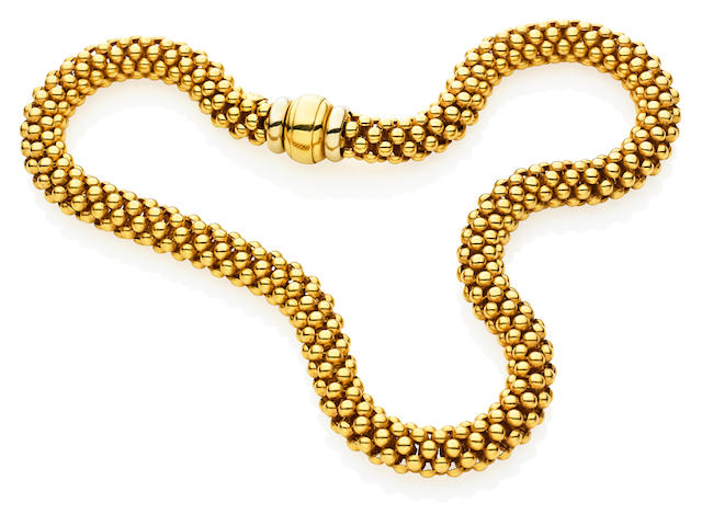 An Italian gold collar and bracelet