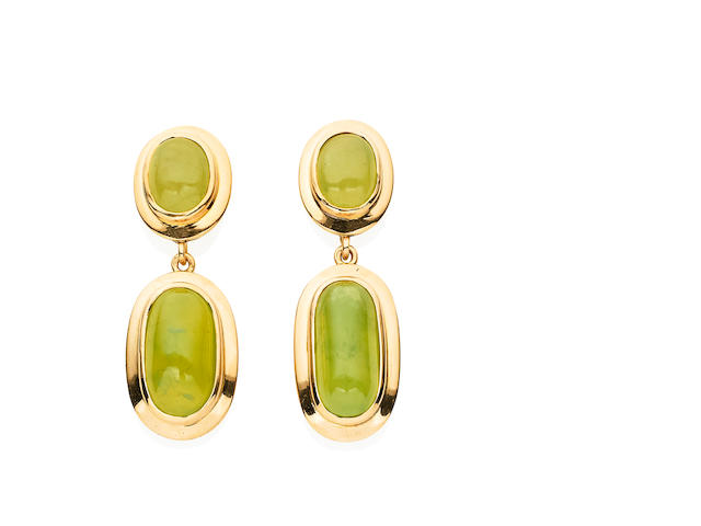 A pair of grossular garnet drop earrings