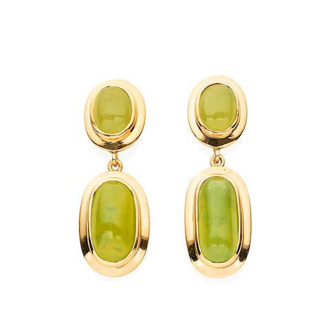 A pair of grossular garnet drop earrings