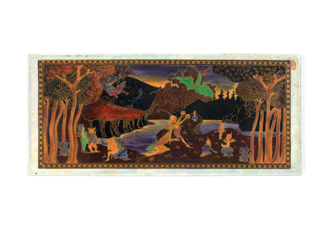 Daisy Makeig-Jones for wedgwood 'Picnic by a River' a Fairyland Lustre Plaque, circa 1920
