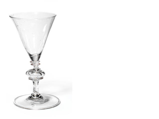A facon de Venise wine glass, circa 1680