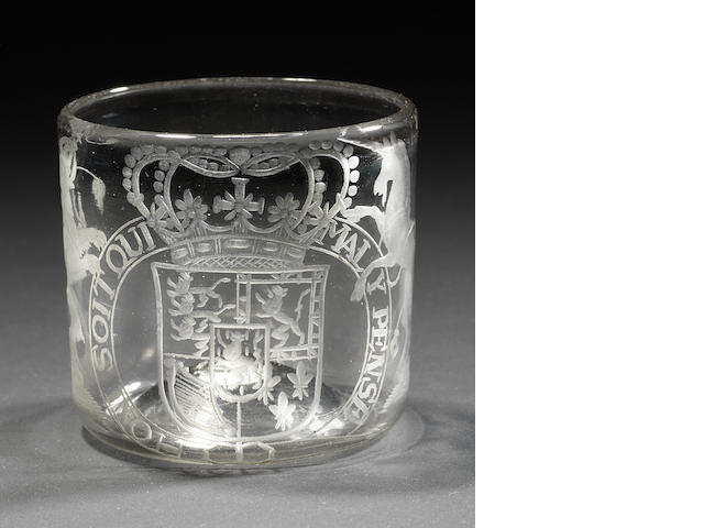 A rare engraved Royal armorial wine cup, late 17th century