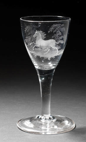 A Dutch stipple-engraved plain stem wine glass by David Wolff, circa 1780-90