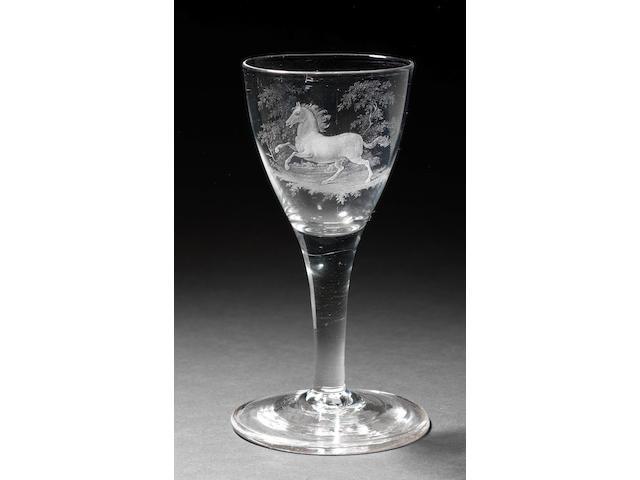 A Dutch stipple-engraved plain stem wine glass by David Wolff, circa 1780-90
