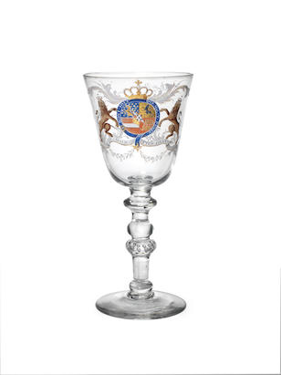 The William V Goblet. A highly important Beilby enamelled and gilt Royal armorial Goblet, circa 1766