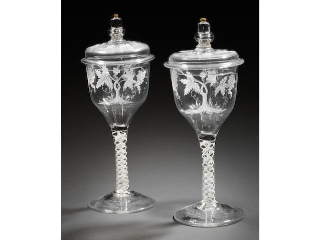 A very rare pair of Beilby enamelled and gilt opaque-twist goblets and covers, circa 1765