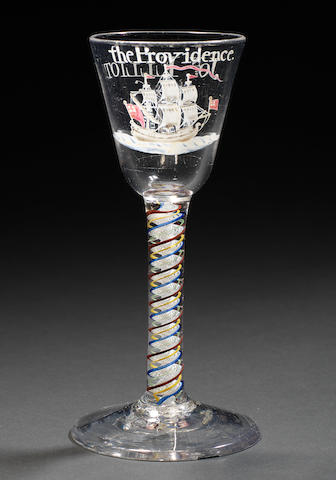 A very rare Beilby enamelled 'Privateer' colour-twist wine glass, dated 1767