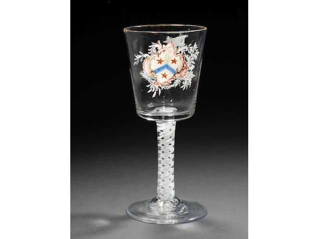 The Pollard Goblet. A Beilby enamelled armorial opaque-twist goblet, circa 1765