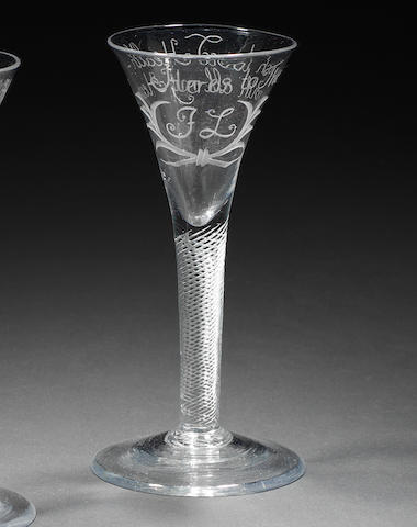 An engraved airtwist wine glass, circa 1750
