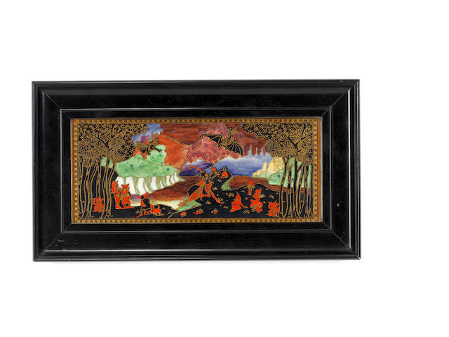 Daisy Makeig-Jones for Wedgwood 'Picnic by a River' a Framed Fairyland Lustre Plaque, circa 1920