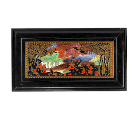 Daisy Makeig-Jones for Wedgwood 'Picnic by a River' a Framed Fairyland Lustre Plaque, circa 1920
