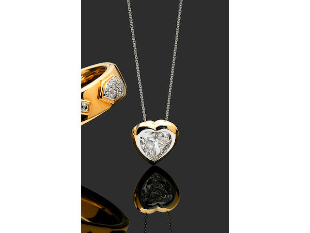 A 6.04 carat heart-shaped diamond pendant