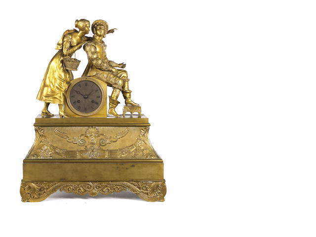 A mid 19th century gilt bronze figural mantel clock Pons