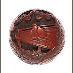 A tsuishu (carved red lacquer)  manju  Early 19th century