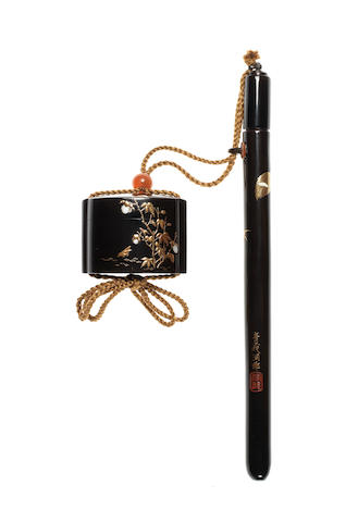 A black lacquer yatate By Tokei, late 19th/early 20th century