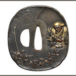 A shibuichi tsuba Attributed to Funada Ikkin,c.1840-1885