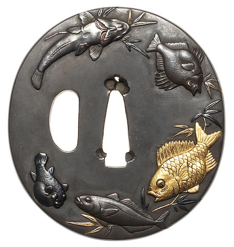 A shibuichi tsuba By Hamano Naochika, first half of the 19th century