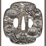 A silver bakumatsu tsuba After Ishiguro Masayoshi, late 19th century
