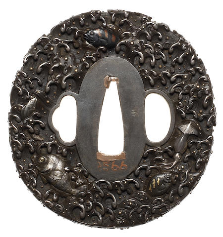 A shibuichi tsuba By the Omori family, dated 1777