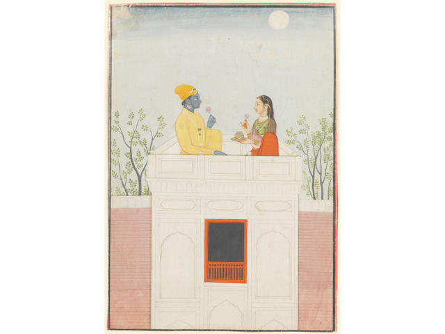 A miniature depicting Radha and Krishna each holding a flower and seated on the roof terrace of a white pavilion<BR>Guler circa 1790<BR>Watercolour