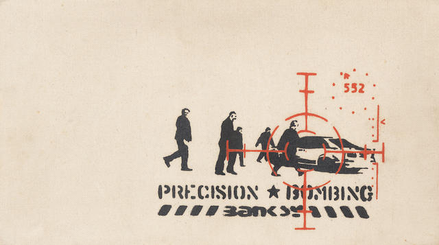 Banksy (British, born 1975), 'Precision Bombing', signed, acrylic and spray paint stencilled on buff canvas, together with rough stencils for 'Heavy Weaponry' verso